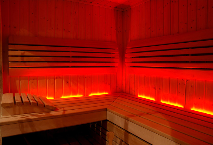 Interior of sauna heated from sauna heater